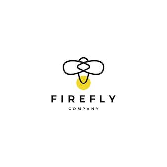 Ispirazioni di progettazione dell'illustrazione dell'icona di vettore di logo della lucciola