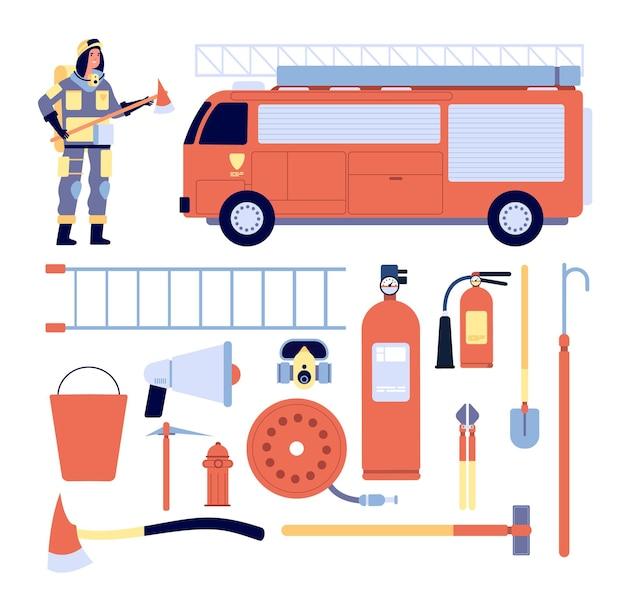 Vigile del fuoco e attrezzature. equipaggiamento professionale di salvataggio, divisa da pompiere, estintore e idrante.