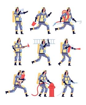 Vigile del fuoco. personaggi dei pompieri che salvano persone, attrezzature di soccorso. vigili del fuoco in casco con estintore, insieme di vettore del fumetto di manichetta antincendio. illustrazione pompiere, equipaggiamento di protezione uniforme del vigile del fuoco