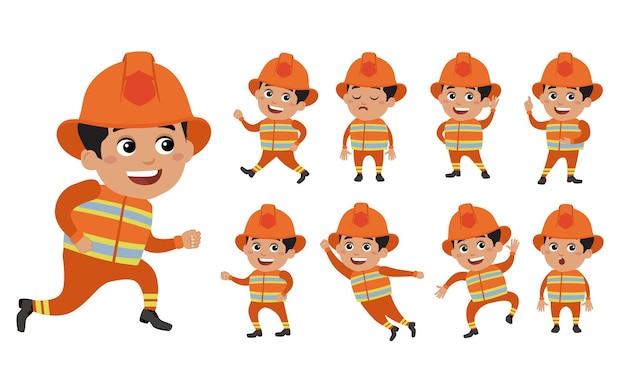 Vigile del fuoco con pose diverse.