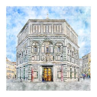 Illustrazione disegnata a mano di schizzo dell'acquerello di firenze italia