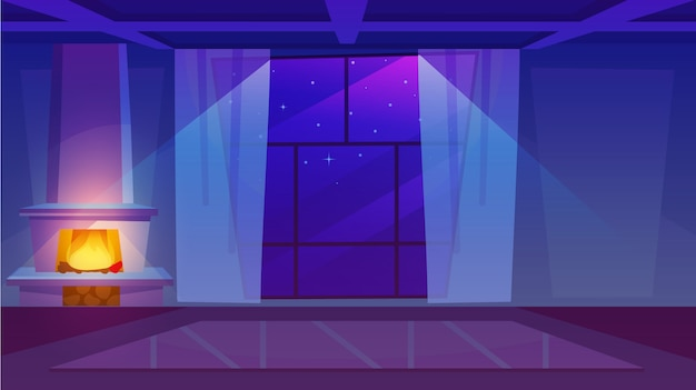 Camino nell'illustrazione piana della stanza vuota. interno di casa di lusso con finestre panoramiche e tende leggere. legna da ardere bruciante che sparge luce morbida nel salone scuro. stelle nel cielo all'aperto