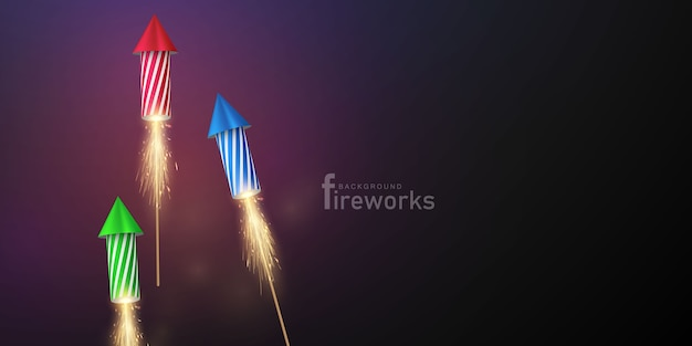 Fuochi d'artificio e natale a tema celebration party happy new year background design