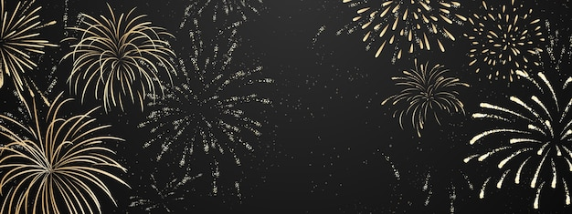 Fuochi d'artificio e natale a tema celebration party happy new year gold background.
