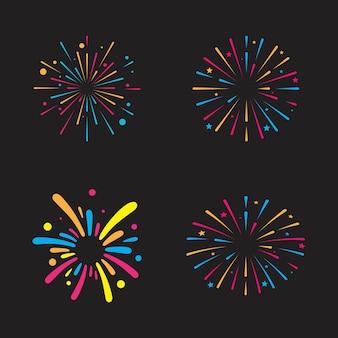Modello di progettazione dell'illustrazione dell'icona di vettore del fuoco d'artificio