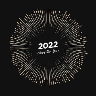 Fuochi d'artificio con iscrizione 2022 e felice anno nuovo. esplosione con raggi di linea cartolina di natale isolata su sfondo nero. illustrazione vettoriale
