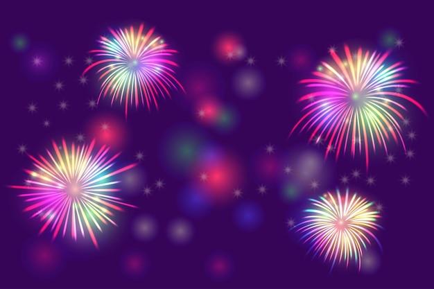 Fuochi d'artificio su luci bokeh effetto sfondo per la celebrazione del felice anno nuovo