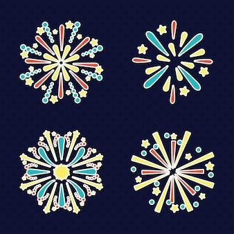 Set di icone di fuochi d'artificio esplosioni
