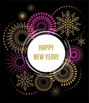 Fuochi d'artificio e sfondo celebrazione, banner e poster di felice anno nuovo