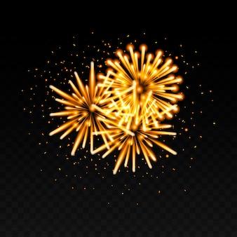 Decorazione dei fuochi d'artificio isolata sul nero