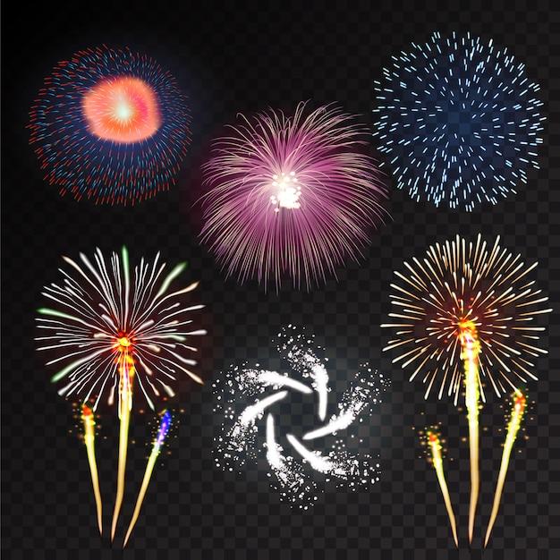 Fuochi d'artificio di festa che scoppiano con pattern in varie forme scintillanti icone impostare sfondo nero illustrazione astratta