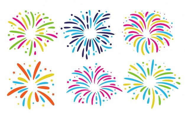 Collezione di fuochi d'artificio. fuochi d'artificio colorati per le celebrazioni del festival di capodanno.