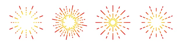 Set di icone lineare di fuochi d'artificio. simbolo rotondo dello sprazzo di sole. illustrazione. icona piana di fuochi d'artificio