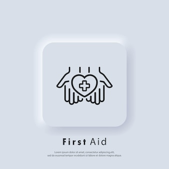 Icona di pronto soccorso. mani che tengono cuore con croce. logo della farmacia medica. vettore. pulsante web dell'interfaccia utente bianco neumorphic ui ux. neumorfismo