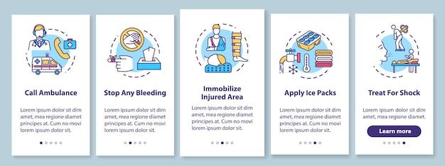 Pronto soccorso, consigli sul trattamento delle lesioni a bordo della schermata della pagina dell'app mobile con concetti. procedura dettagliata dei metodi terapeutici 5 istruzioni grafiche in passaggi. modello vettoriale dell'interfaccia utente con illustrazioni a colori rgb