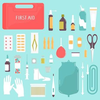 Cassetta del kit di pronto soccorso con medicinali e attrezzaturesetillustrazione vettoriale in stile piatto