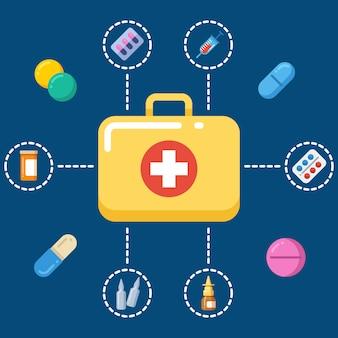 Concetto della cassetta di pronto soccorso - icone della medicina impostate