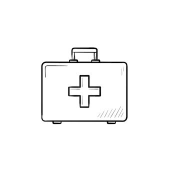 Icona di doodle di contorno disegnato a mano del kit di pronto soccorso
