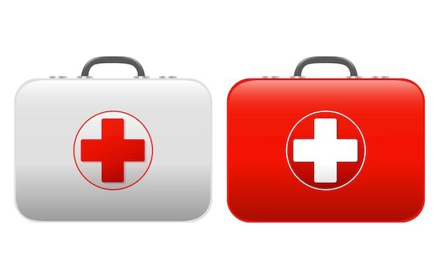 Set di kit di pronto soccorso isolato su sfondo bianco