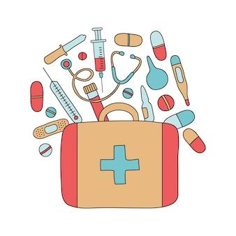 Kit di pronto soccorso con farmaci disegnati a mano, scatola medica, valigia di emergenza, strumenti del medico.