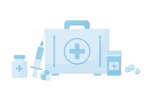 Kit di pronto soccorso con farmaci, icona di vettore bottiglia medica con pillole e siringa, valigia di emergenza, scatola medico isolata su sfondo bianco. illustrazione sanitaria