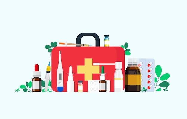 Kit di pronto soccorso con medicinali per la gola, rimedio per il raffreddore, termometro, compresse, siringa per iniezione. illustrazione vettoriale