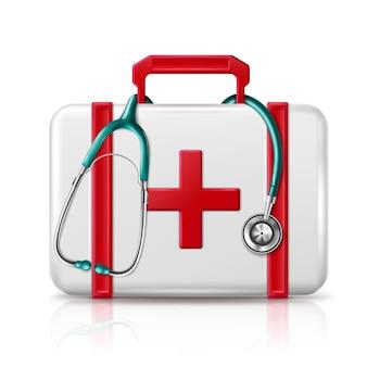 Borsa della medicina di primo soccorso con lo stetoscopio isolato