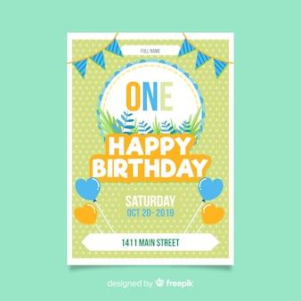 Prima carta della giungla piatta di compleanno