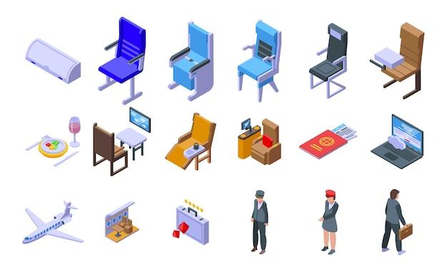 Set di icone di viaggio di prima classe. insieme isometrico di icone vettoriali di viaggio di prima classe per il web design isolato su sfondo bianco