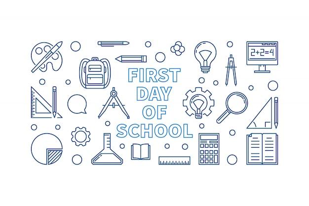 Bandiera di vettore lineare di concetto di primo giorno di scuola