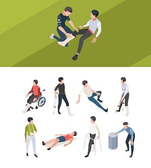 Primo soccorso infortunio. persone di riabilitazione ossa rotte che intonacano braccia e gambe dopo le persone di lesioni isometriche mediche di incidente.