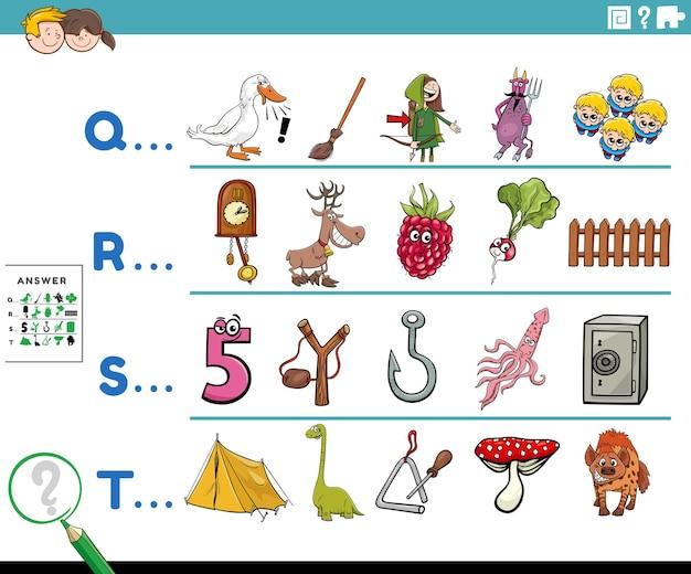 Prima lettera di una parola compito educativo dei cartoni animati per i bambini