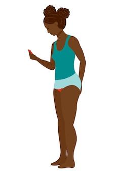 Prima mestruazione ragazza adolescente spaventata dal sanguinamento ciclo mestruale e periodi donna nera