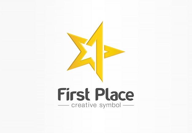 Primo posto, vincitore del concorso, concetto creativo simbolo numero uno. premio, premio, idea logo astratto business vittoria. icona del trofeo della stella d'oro.