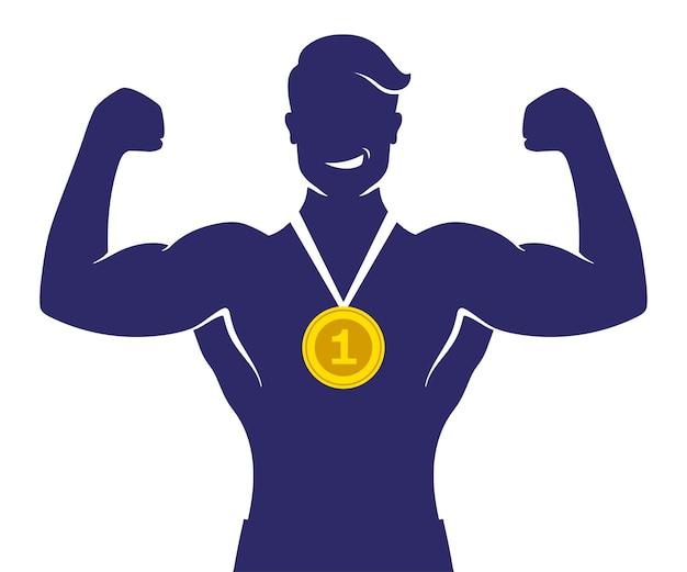 Sportivo vincitore del primo posto con medaglia d'oro