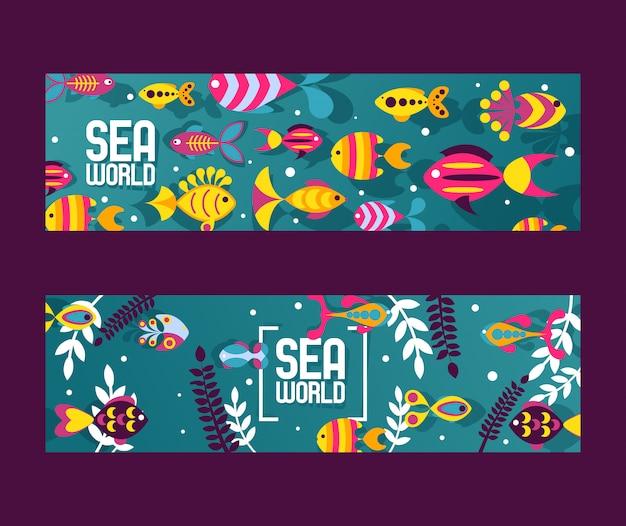 Pesci astratte colorate creature del mare