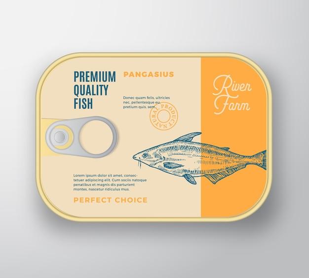 Mockup di imballaggio per contenitori in alluminio per pesci