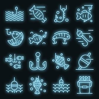 Set di icone di esche per pesci. contorno set di icone vettoriali esche per pesci colore neon su nero
