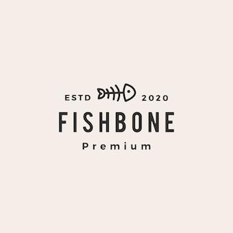 Logo vintage di pesce gatto cibo per gatti