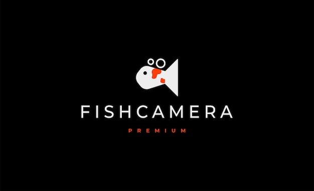 Fish camera logo design vector illustration