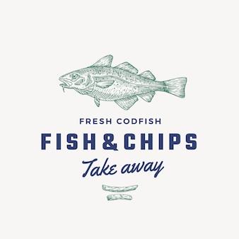 Fish and chips segno astratto, simbolo o modello di logo. pesce di merluzzo disegnato a mano e patatine fritte con tipografia retrò di classe. emblema vintage. isolato.