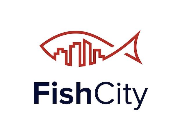 Il pesce e l'edificio della città delineano un design semplice ed elegante del logo geometrico creativo moderno