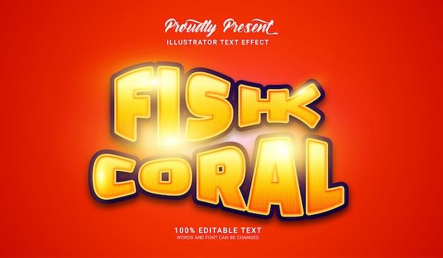 Effetto stile testo corallo pesce. effetto di testo modificabile
