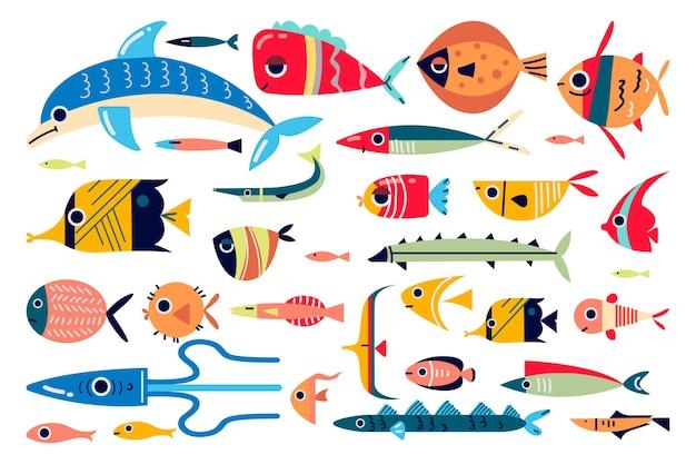 Insieme di doodle di pesce isolato su bianco
