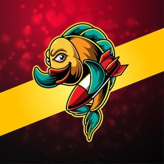 Design del logo della mascotte dell'esportazione di pesce