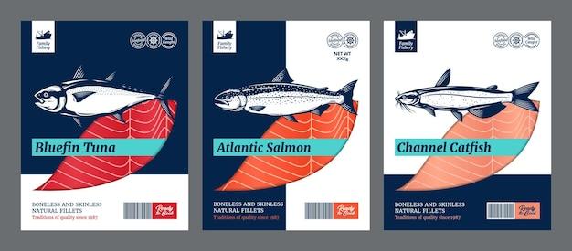 Pesce stile piatto packaging design salmone pesce gatto e tonno illustrazioni
