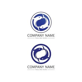 Icone di pesci che mostrano code e branchie del logo di animali acquatici e acquatici