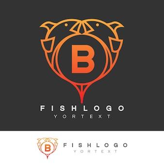Pesce iniziale lettera b logo design