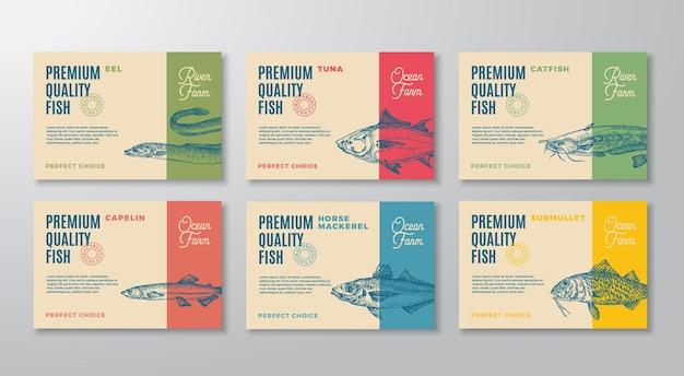 Le etichette di pesce impostano la raccolta di layout di progettazione di imballaggi vettoriali astratti