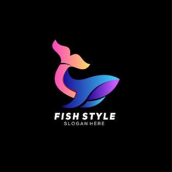 Gradiente di design colorato con logo di pesce